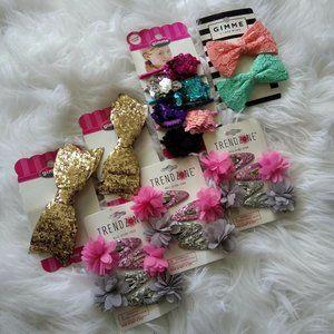 7 Gimme & Trend Zone Glitter Flower Hair Bows